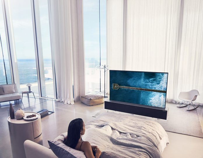 LG unveils world's first rollable television